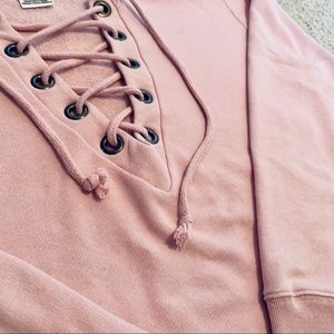PINK lace up crew